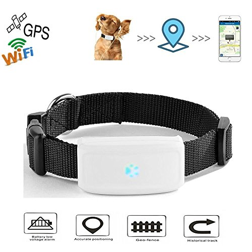 Hangang WiFi GPS Pet Tracker Anti-Lost GPS Locating Pet Tracker, Activity Monitor Tracking in Real Time Free App, Smart Collar for Cat GPS Location Tracker Support Android iOS TK911