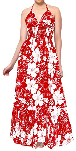 LA LEELA Soft  Printed Beach Vacation Stretchy Top Tube Dress Red 3011 One Size