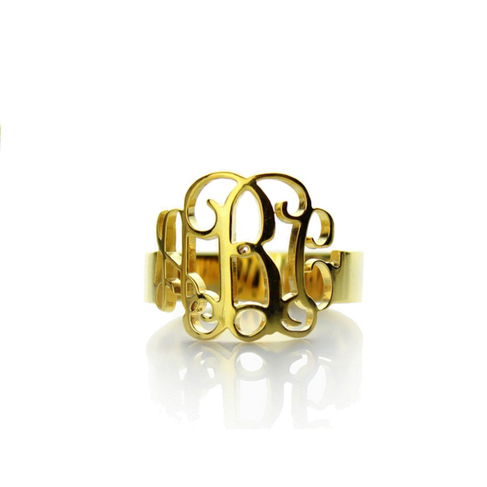 AOCHEE Personalized Name Ring Monogram Initial Ring AZ2018041602