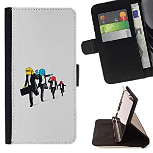 DEVIL CASE - FOR Apple Iphone 6 - Funny Running Men - Style PU Leather Case Wallet Flip Stand Flap Closure Cover