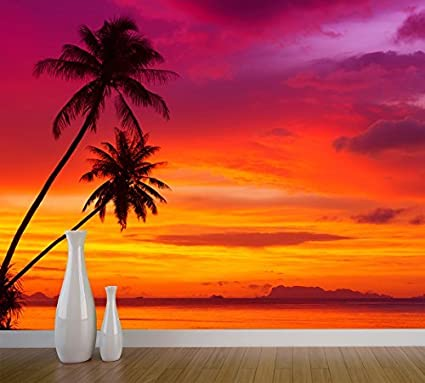 Palm Trees Silhouette On A Sunset Tropical Beach Wall Mural