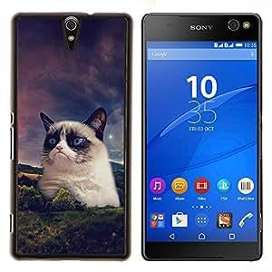 YiPhone /// Prima de resorte delgada de la cubierta del caso de Shell Armor - Divertido Grump gato de la raqueta siamés - Sony Xperia C5 Ultra
