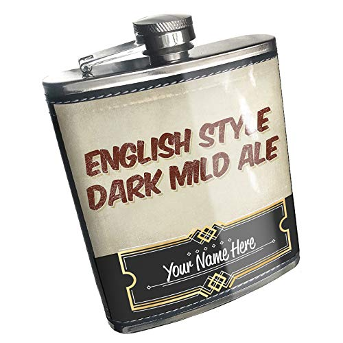 (Neonblond Flask English Style Dark Mild Ale Beer, Vintage style Custom Name Stainless Steel)