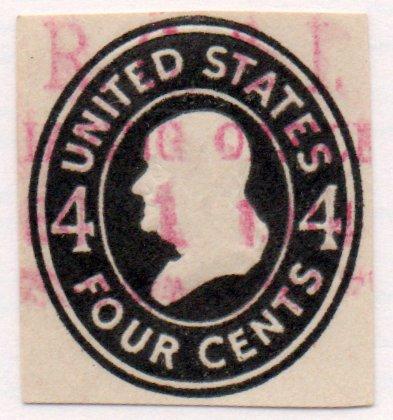 US Postage Stamp 1910 Cut Corner Franklin Issue 4 Cents Scott #U416 ()