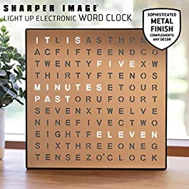 SHARPER IMAGE Light Up Electronic Word Clock, Copper Finish with LED Light Display, USB Cord and Power Adapter, 7.75in…