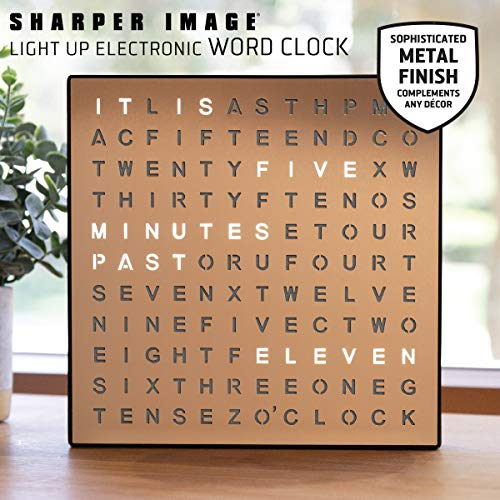 Sharper Image Light Up Electronic Word Clock, Copper Finish with LED Light Display, USB Cord and Power Adapter, 7.75in… 2