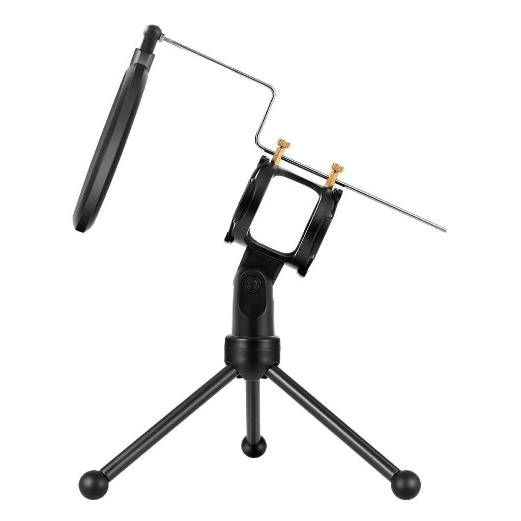 Homyl Tr/épied de Table pour Micro Support de Microphone de Bureau R/églable Portable Pliable