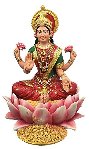 Beautiful Heavenly Hindu Prosperity Goddess Lakshmi Seated On Lotus Flower Figurine Statue In Vivid Colors