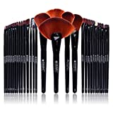 SHANY Professional Brush Set with Leather-Look Pouch, 32 Count Goat & Badger. by SHANY