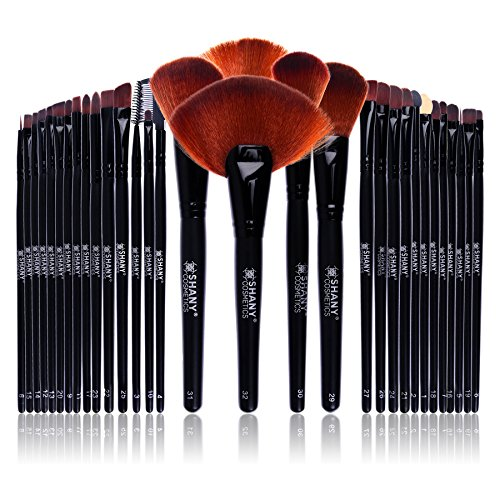 SHANY Professional Brush Set with Leather-Look Pouch, 32 Cou