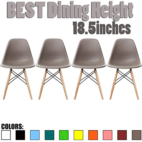 2xhome Set of 4 Gray Mid Country Modern Molded Shell Designer Assemble Plastic Chair Side No Arms Wheels Armless Chairs Natural Wood Wooden Eiffel for Dining Room Bedroom Kitchen Accent Office DSW