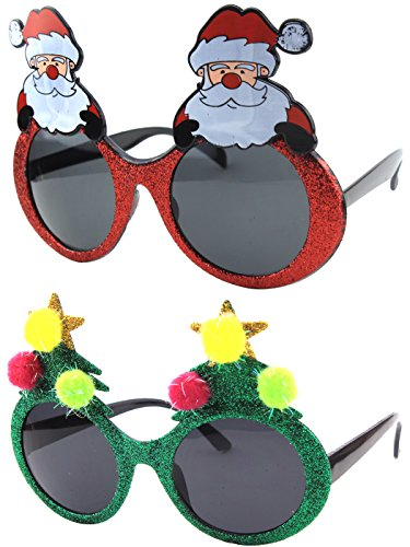 Christmas Sun Glasses Costume Accessory Novelty Glitter Xmas Tree and Santa Sunglasses (Costume Ideas For Men With Beards)