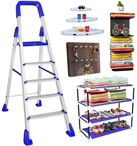 TRENDY Maple 5-Step Foldable Aluminium Ladder with Sure-Hinge Mechanism