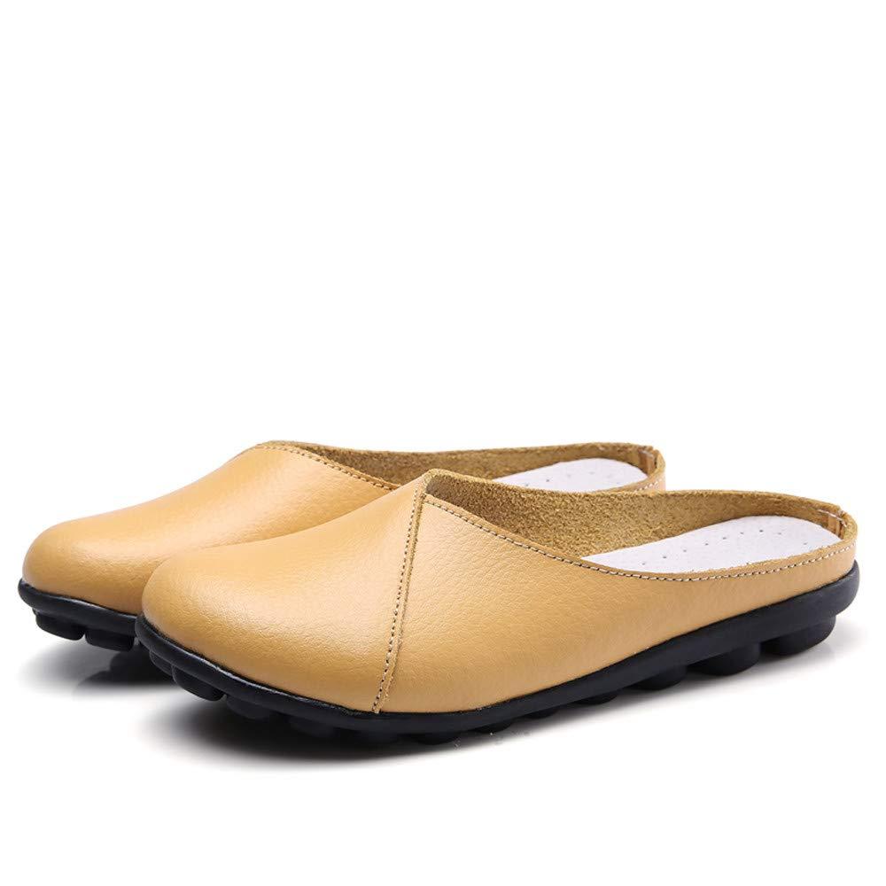 Damas de Cuero Casual Inferior Suave Transpirable Medias Zapatillas de Guisantes de Fondo Plano Antideslizantes Diarios Salvajes Ocasionales