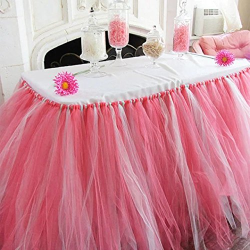 Tu Pew (Adeeing Romantic Wedding Party Birthday Supply Dessert Station Gauze Decoration Table Skirts Watermelon red and Light Blue)