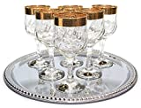 Italian Collection 'Tulip' 9 Oz Crystal Wine Goblets Glasses, 24K Greek Key Gold-Plated