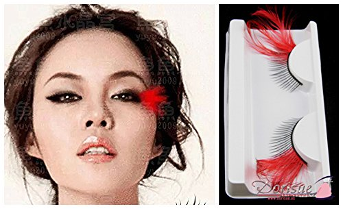 Dorisue Eyelashes Sexy Feather eyelashes RED Color Extra extension false Eye Makeup Party Show -