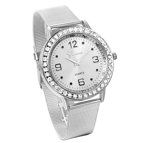 JewelryWe Women's Fashion Silver Tone Stainless Steel Mesh Watch Quartz Analog Wristwatches (Tone Watch Mesh Silver)