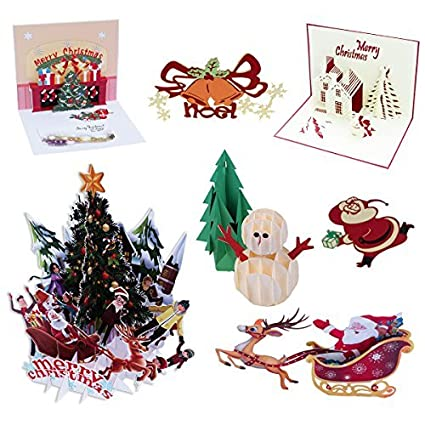 7 pack 3d pop up christmas cards greeting handmade holiday xmas cards envelopes for xmas
