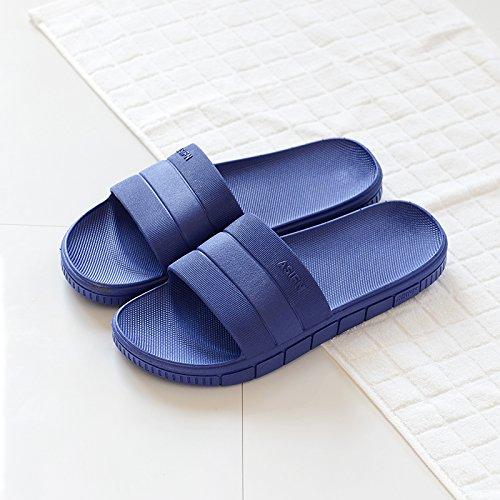 DogHaccd Zapatillas,El cuarto de baño femenino Verano zapatillas home interior de plástico grueso antideslizante cool parejas masculinas zapatillas de baño verano Azul oscuro3
