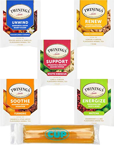 Twinings Wellness Hot Tea Bags Variety Pack 30 Count, 5 Flavors with By The Cup Honey Sticks