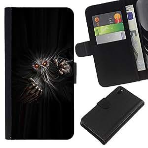 KingStore / Leather Etui en cuir / Sony Xperia Z3 D6603 / Monster Ghost Diablo Rojo Ojos Infierno Horror