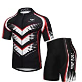 Men's Cycling Jersey Set - Reflective Quick-Dry Biking Shirt and 3D Padded Cycling Bike Shorts