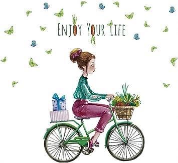 Chica de dibujos animados pegatinas de pared, pvc diy mariposa ...