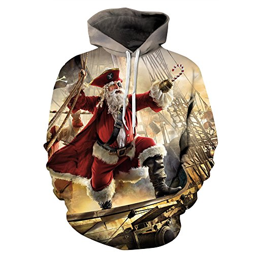 Couple 3D Santa Print Ugly Christmas Kangaroo Pocket Sweatshirt Hoodies Pullover Captain Santa S/M