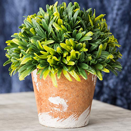 MyGift Decorative Green Plastic Artificial Plant w/Rustic Style Brown Ceramic Planter Pot Container