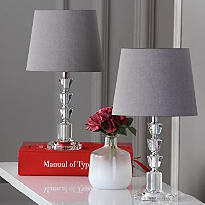 Safavieh Lighting Collection Harlow Clear and Grey Tiered Crystal Orb 16-inch Table Lamp (Set of 2)