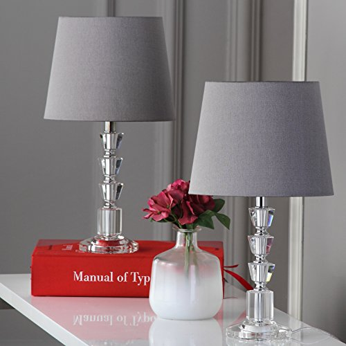 Safavieh Lighting Collection Harlow Clear and Grey Tiered Crystal Orb 16-inch Table Lamp (Set of 2) (Table Lucite Lamp)