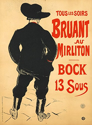 - Bruant au Mirliton - Bock 13 Sous Vintage Poster (artist: Toulouse-Lautrec) France c. 1893 (36x54 Giclee Gallery Print, Wall Decor Travel Poster)