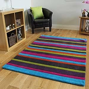 Alfombra moderna de lana dise o rayas multicolor 3 tama os - Alfombras comedor amazon ...