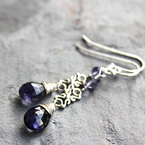 Silver Artisan Filigree Earrings - Blue Iolite Earrings Sterling Silver Filigree Scroll Dangle Gemstones 1.9 Inch Length