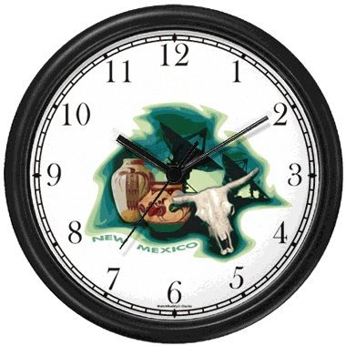 - New Mexico Icons - Radio Telescopes Astronomy, Indian Pottery, Steer Skull with Horns - American Theme Wall Clock by WatchBuddy Timepieces (White Frame)