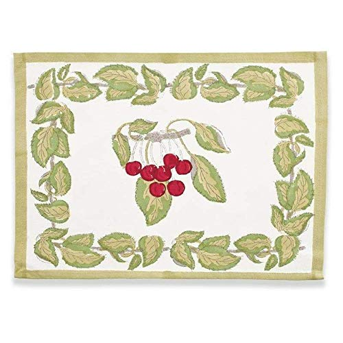 (Couleur Nature Cherry Red/Green Mats 15-inches by 18-inches, Set of 6)