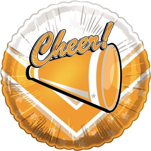 """Cheer!"" Orange Megaphone Mylar Balloon Orange & White Cheerleading"