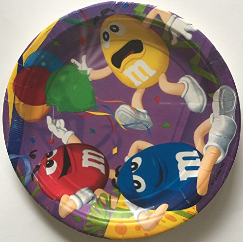 M & M Party Lunch Plates - 8 Paper Plates