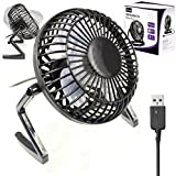 "Usb Fan Retro Mini By G-Hub - 360 Rotation Desk Fan Powered by USB Socket of a Laptop or PC or any USB Mains Adapter - Compact Usb Fan Mini 4"" (4inch) – BLACK"