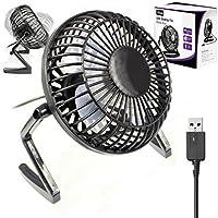 ORZLY® Ventilador de Escritorio USB - (Mini Retro Ventilador de Mesa con Conector USB) - Ligero y Portatil de 4 Pulgadas - 1x Negro