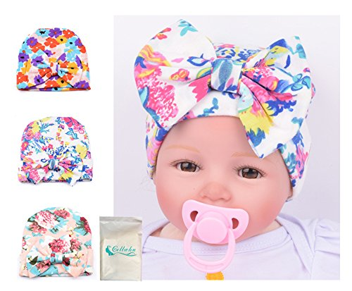 Gellwhu Pink White Blue Newborn Girl Nursery Beanie Hospital Hat With Large Bow (3 Colors Pack D)