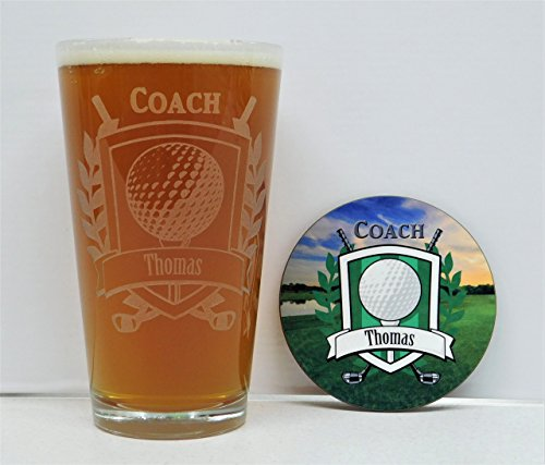 Golf Coach, Golf Coach Gift, Golf Coach Award, Golf Coach Glass and Coaster Set, Golf Gift, Golf Team awards, Golf Awards, Golf - Awards Etched Golf