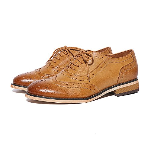 Pictures of Mona Flying Leather Perforated Lace-up Oxfords 1