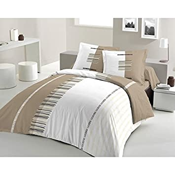 housse de couette 240x260 taupe Housse de Couette PERTINENCE taupe 240x260 + 2 TO: Amazon.fr  housse de couette 240x260 taupe