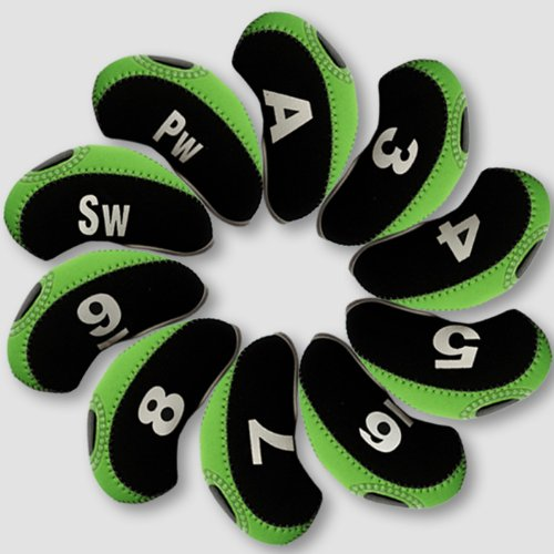 Andux Number Tag Golf Iron Covers 10pcs/set Mt/s01 Black/green, Outdoor Stuffs