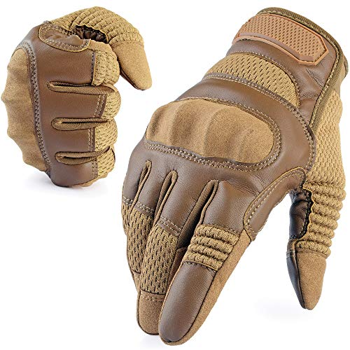 - AXBXCX Tactical Gloves Military Motorcycle Touch Screen Plastic Hard Knuckle Full Finger Outdoor Gloves for Cycling Combat Training Army Shooting Motorbike Hunting Airsoft Paintball Brown S