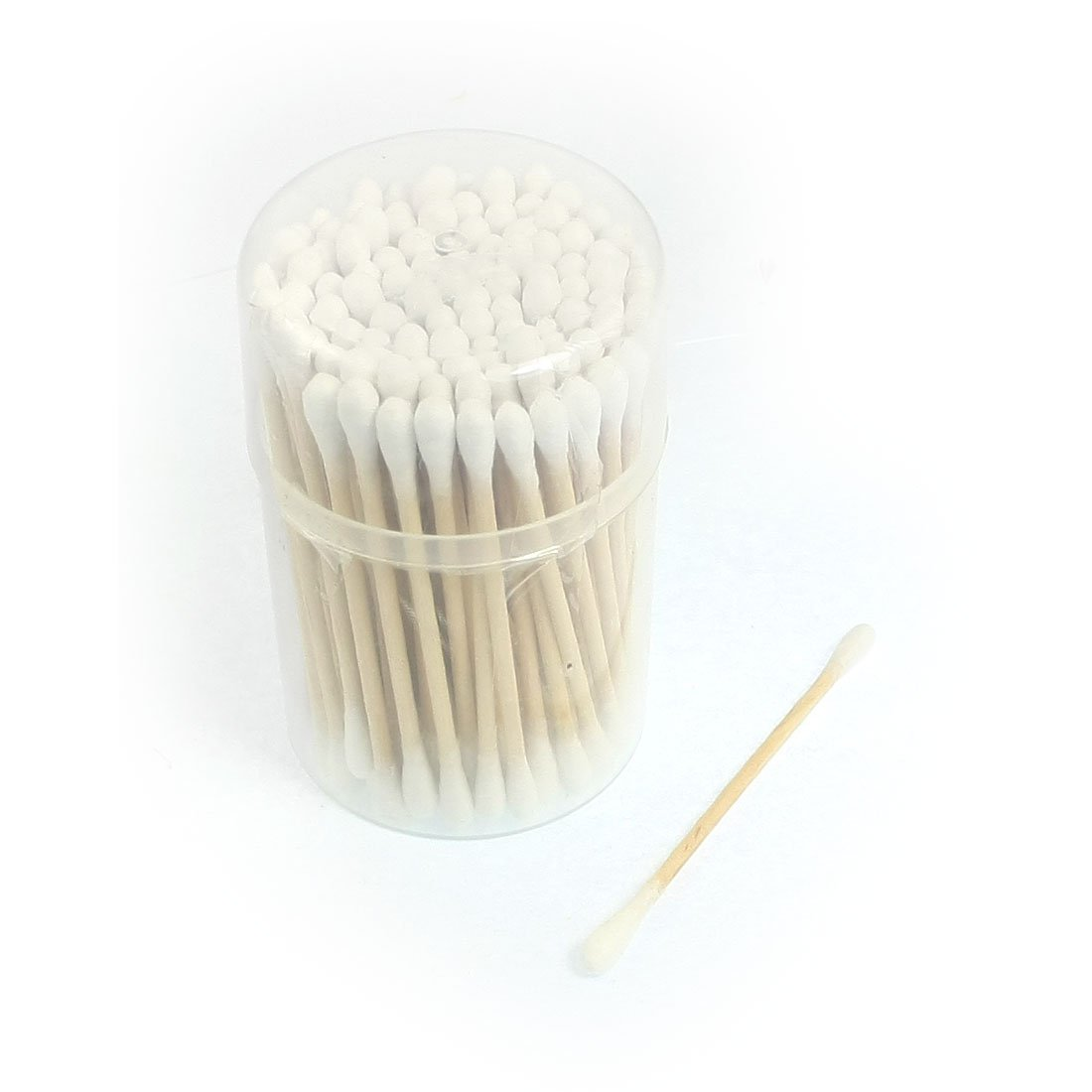 uxcell 100 Pcs Disposable Double Head Cotton Swab Bud White w Cylinder Shape Case a12082000ux0735