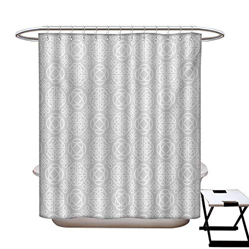 haommhome Celtic Mildew Resistant Shower Curtain Liner Tribal Celtic Knots Eternity Forms Pattern Boho Ireland Irish Cross Floral Artprint Shower Curtain with 12 Beaded Rings Grey White48×72