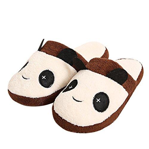 Unión Tesco algodón Zapatillas, zapatillas Interior Slipper en Panda Diseño, invierno térmica Peluche Zapatillas Negro marrón